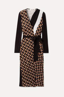 Diane von Furstenberg Maureen Printed Silk-jersey And Silk Crepe De Chine Wrap Dress - Black