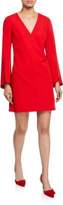 Milly Nicolette V-Neck Slit-Sleeve Sustainable Cady Dress