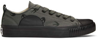 McQ Grey and Black Swallows Plimsoll Sneakers