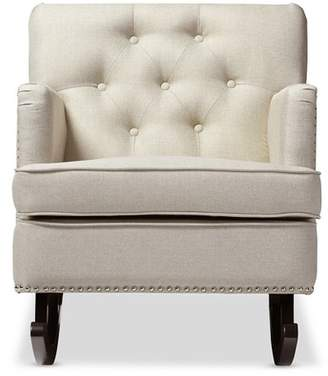 Baxton Studio Bethany Modern and Contemporary Light Fabric Upholstered Button - Tufted Rocking Chair - Gray