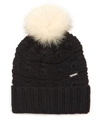 WOOLRICH JOHN RICH & BROS. Serenity fur-pompom wool beanie hat $93 thestylecure.com