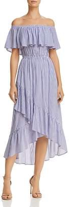 Aqua Ruffled Off-the-Shoulder Striped Dress - 100% Exclusive