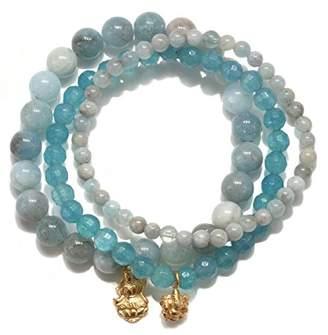 Satya Jewelry Womens Aquamarine Gold Ganesha Lakshmi Stretch Bracelet Set