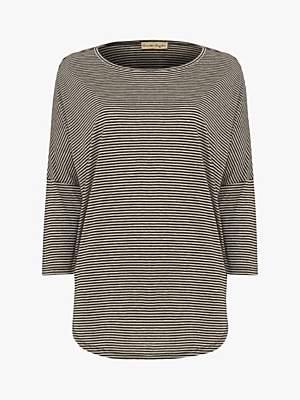 Phase Eight Striped Catrina Top, Black/Grey