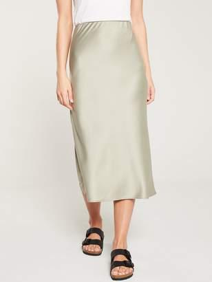 Warehouse Satin Bias Cut Midi Skirt - Khaki