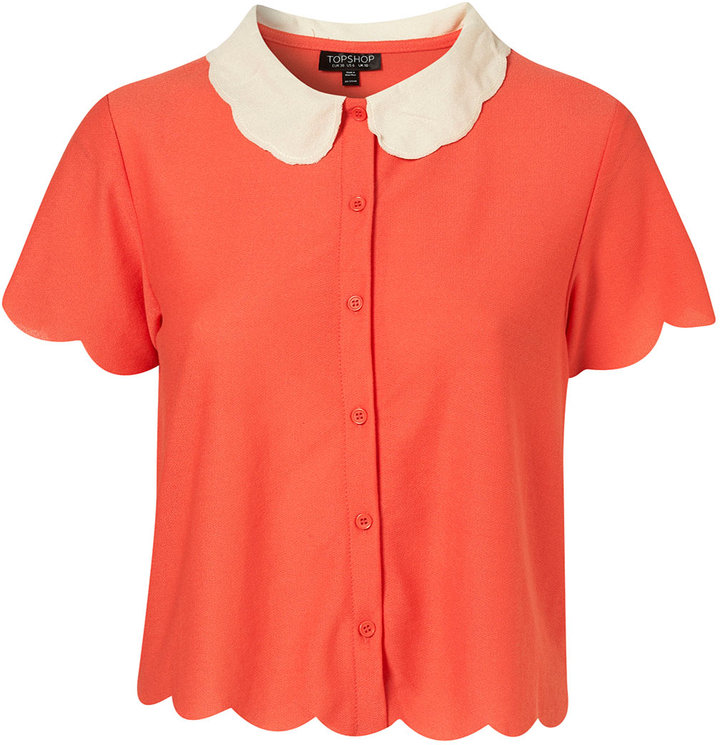 Coral Scallop Crop Shirt