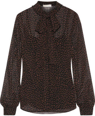 MICHAEL Michael Kors - Pussy-bow Printed Chiffon Blouse - Chocolate $110 thestylecure.com