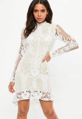 Missguided Nude Lace Flippy Hem Flare Sleeve Bodycon Dress