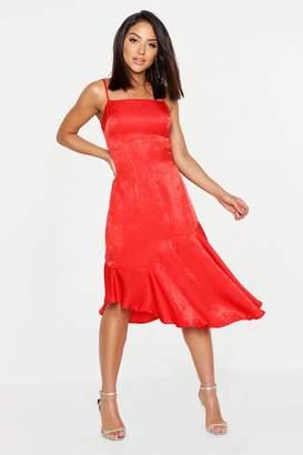 boohoo Hammered Satin Asymmetric Midi Slip Dress