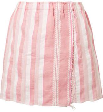 Lemlem Lulu Wrap-effect Striped Cotton-blend Gauze Mini Skirt - Antique rose