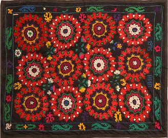 One Kings Lane Vintage Black Floral Uzbek Suzani - Orientalist Home