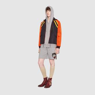 Gucci Hooded zip-up sweatshirt with stripe