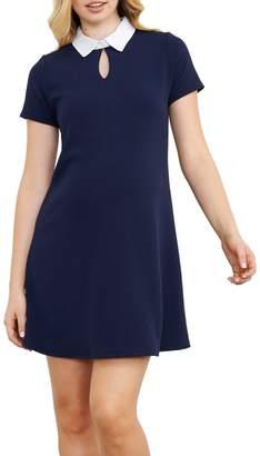 Maternal America Contrast Collar Maternity Dress