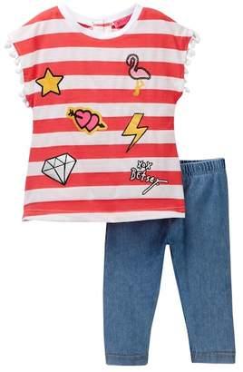 Betsey Johnson Striped Chiffon Back Top & Knit Denim Capri Leggings Set (Little Girls)
