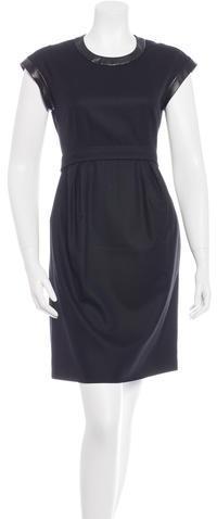 CelineCéline Leather-Trimmed Sheath Dress
