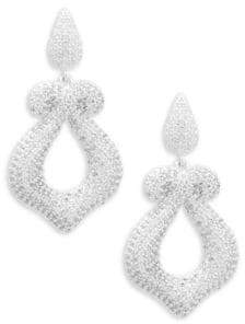 Azaara Crystal Pavé and Sterling Silver Drop Earrings