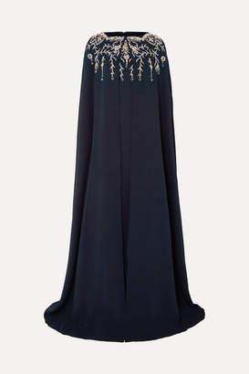 Oscar de la Renta Cape-effect Crystal-embellished Silk-blend Crepe Gown - Navy