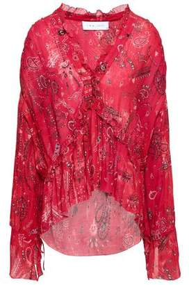 IRO Bavone Ruffle-trimmed Printed Georgette Blouse