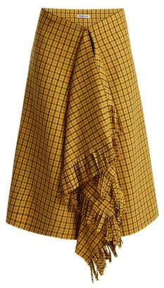 Balenciaga Ruffle Detail Checked Wool Skirt - Womens - Yellow Multi