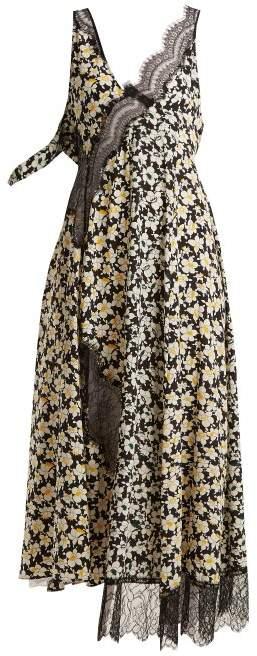 Bronte floral-print contrast-panel dress