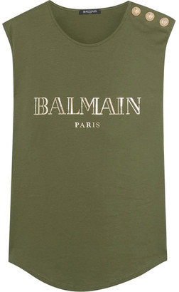 Balmain - Button-embellished Printed Cotton-jersey Top - Army green $210 thestylecure.com