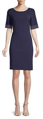 Karl Lagerfeld Paris Dotted-Sleeve Sheath Dress