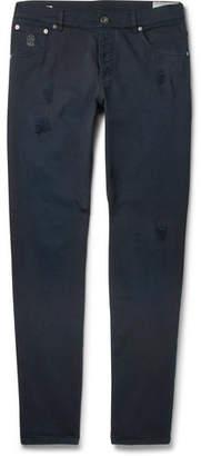 Brunello Cucinelli Slim-Fit Distressed Stretch-Denim Jeans