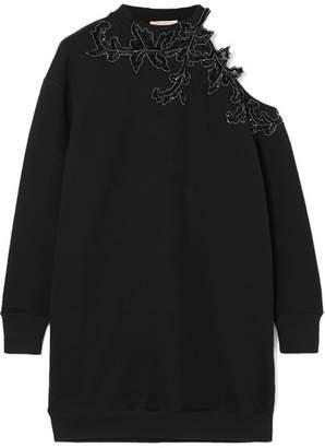 Christopher Kane Embellished Cutout Cotton-jersey Mini Dress - Black
