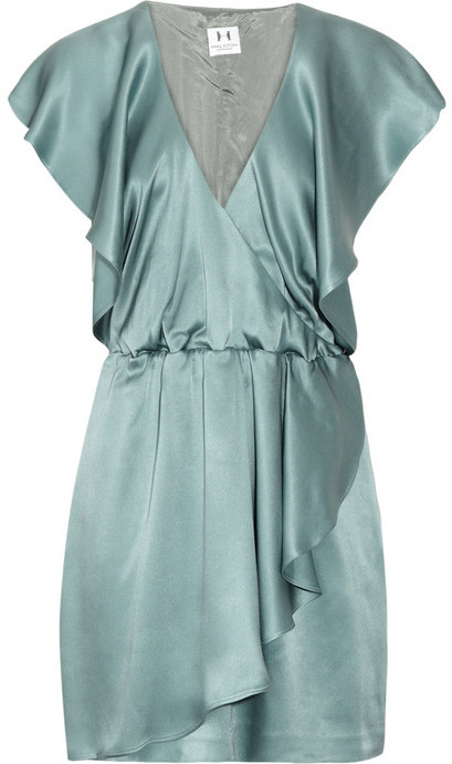 Halston Heritage Wrap-effect silk-satin dress