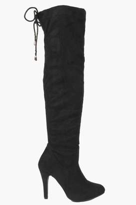 boohoo Stretch Over Knee Pointed Boots