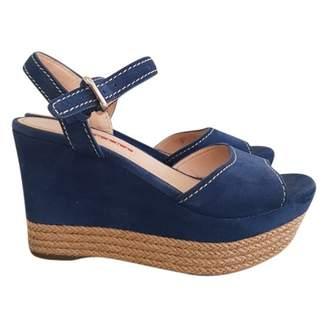 Prada Blue Velvet Sandals