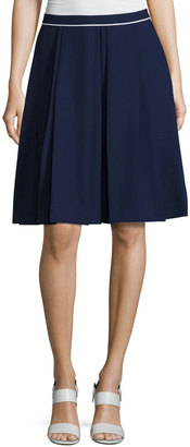 Pink Tartan Contrast-Piping A-line Skirt, Blue/White $199 thestylecure.com