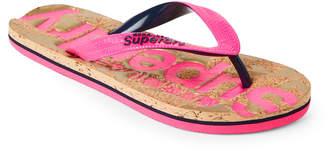 Superdry Fluro Pink & Dark Navy Cork Flip Flops