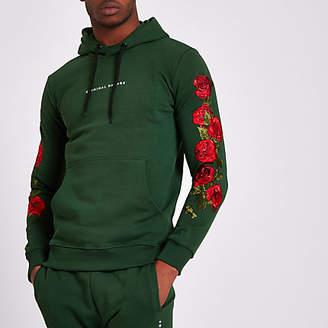 Criminal Damage green rose embroidered hoodie
