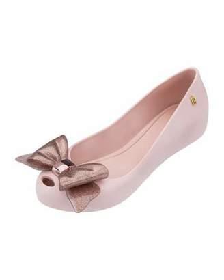 Mini Melissa Ultragirl Glittered-Bow Ballet Flat, Toddler/Youth Sizes 11T-4Y