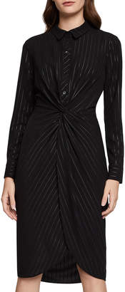 BCBGeneration Metallic Knotted Faux-Wrap Shirt Dress