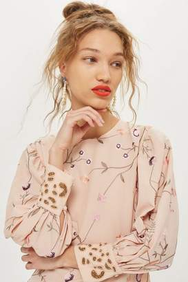 Topshop Petite Embroidered Floral Shift Dress
