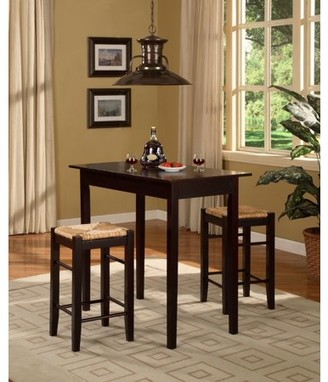 Linon 3 Pc, 1 Table and 2 Counter Stools Set, Espresso Finish, 24.85 inch Seat Height