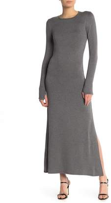 Couture Go Crew Neck Knit Thumbhole Maxi Dress