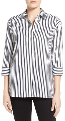 Women's Foxcroft Gigi Non-Iron Stripe Sateen Tunic Shirt $98 thestylecure.com