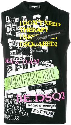 DSQUARED2 collage print tank top