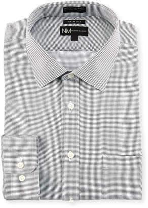 Neiman Marcus Trim Fit Non-Iron Check Dobby Dress Shirt, Black