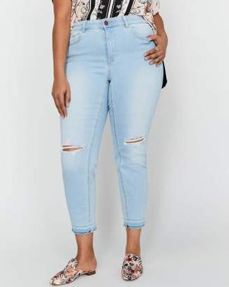 Addition Elle L&L Authentic Skinny Curvy Jeans with Rips & Release Hem