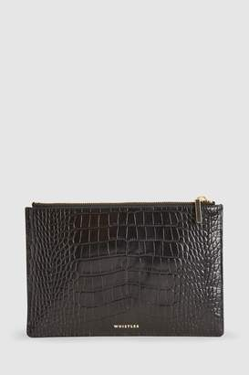 Whistles Womens Shiny Croc Small Clutch - Black