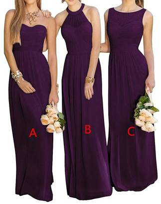 Cdress Women's Sheer Lace Chiffon Long Bridesmaid Dresses Wedding Guest Formal Gowns Prom Dress US