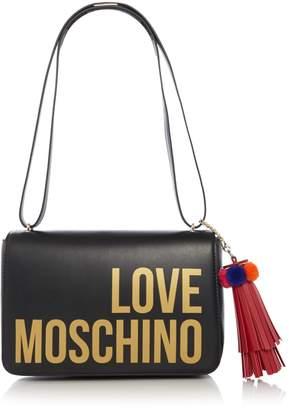 Love Moschino Logo and tassel medium flapover shoulder bag