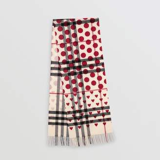 Burberry The Classic Heart Check Cashmere Scarf, Red