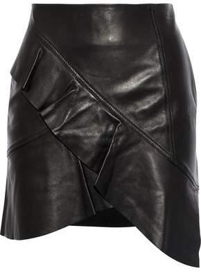 Iro Oyama Wrap-Effect Ruffled Leather Mini Skirt