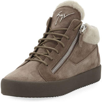 Giuseppe Zanotti Men's Shearling-Lined Suede Mid-Top Sneakers