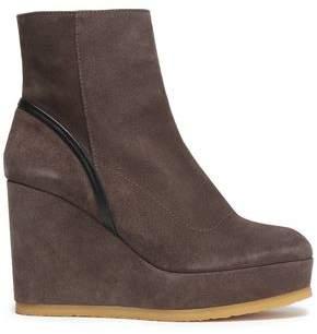 Castaner Leather-Trimmed Suede Platform Ankle Boots
